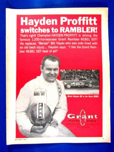 """Hayden Proffitt Rambler Rebel SST Grant Rings Original 1967 Print Ad 8.5 x 11"""""""