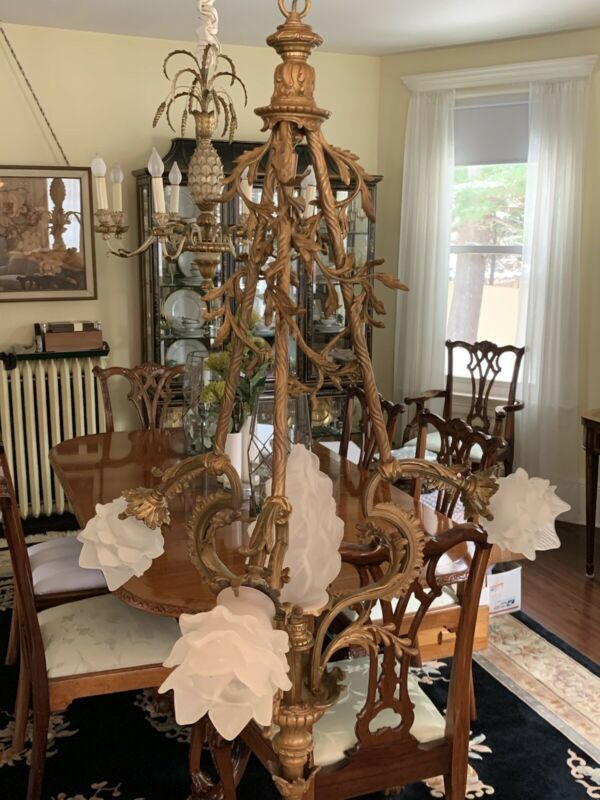 Rare French Bronze Antique Art Nouveau Chandelier 1890's