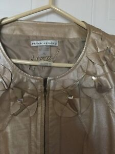 Leather Front Jacket in Gold - Size XL