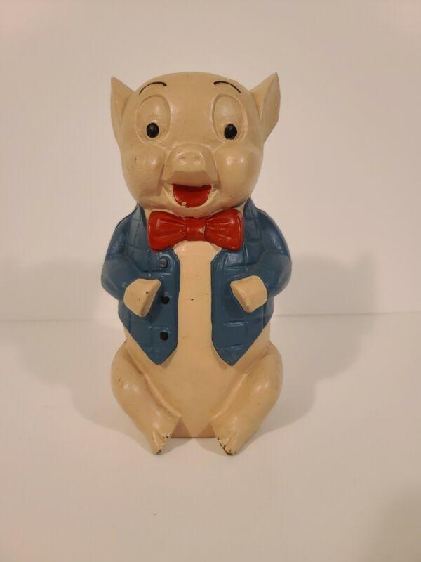 Vintage Hubley Cast Iron Warner Bros. PORKY PIG Coin Bank in VGC