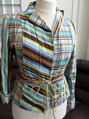ADOLFO DOMINGUEZ STUNNING MULTICOLOUR JACKET/ TOP 100% COTTON SIZE 44 UK 16