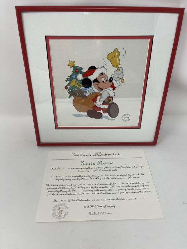 Santa Mouse Sericel by Disney Featuring Mickey Mouse From Hand painted Original