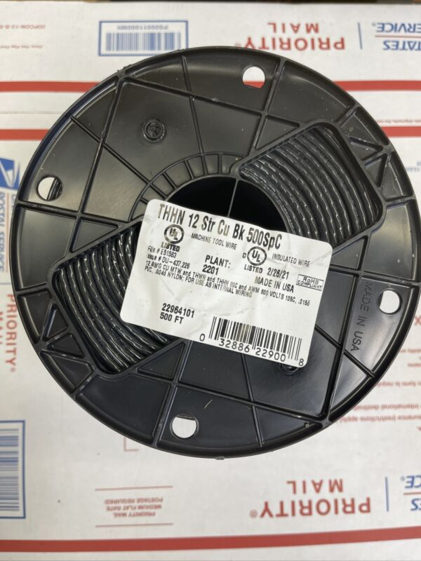 NEW- SOUTHWIRE COMPANY #22964101 500 FT Roll Black #12 AWG Stranded