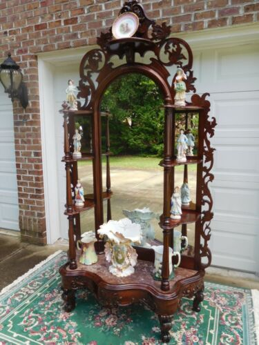 STYLISH VICTORIAN ROCOCO REVIVAL ROSEWOOD ETAGERE