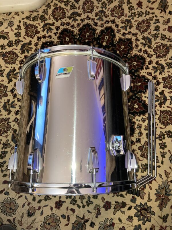 Vtg 70s LUDWIG Stainless Steel Drum Bonham 16 x 16 Floor Tom B/O Pointy w/ Legs