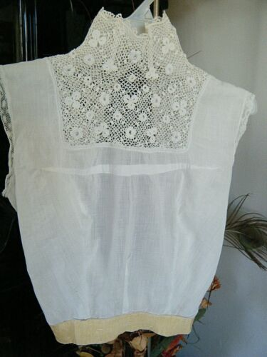 Antique Victorian French muslin  &Irish Lace Corset Cover Camisole Lingerie Top
