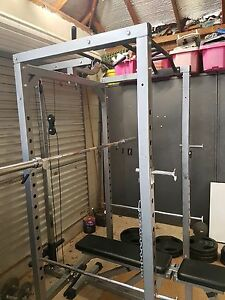 Squat rack + bench + barbell + 190kg weights Denistone Ryde Area Preview