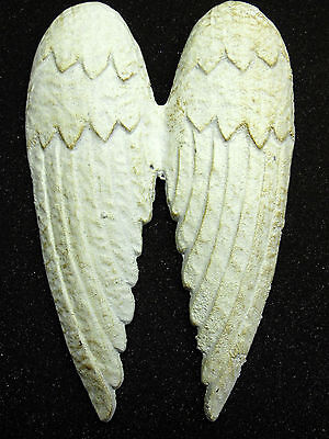 Cast Iron Angel Wings Wall or Garden Decor - White
