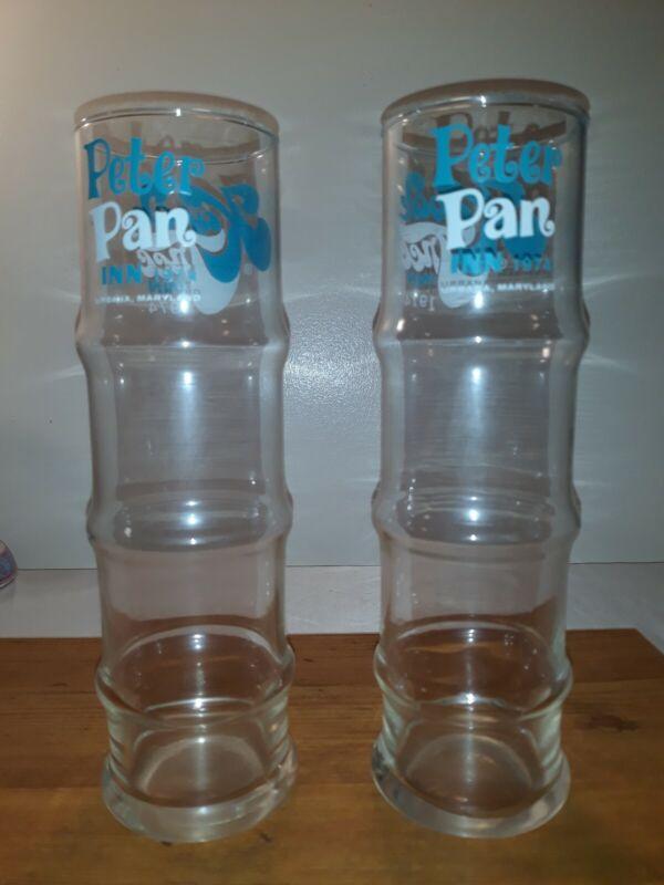 2 1974 Peter Pan Inn - Kapok Tree Inn Urbana Maryland Bamboo Tiki Drink Glasses