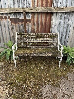 Antique Vintage Weathered Mossy Garden Bench Seat 125cm Decorative Feature White