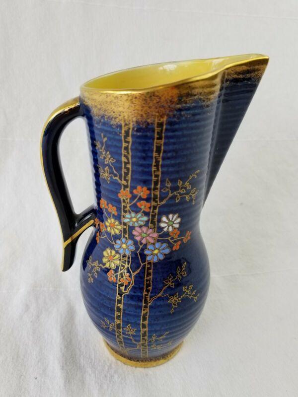 Vintage Crown Devon Fieldings Staffordshire England pitcher vase blue NICE