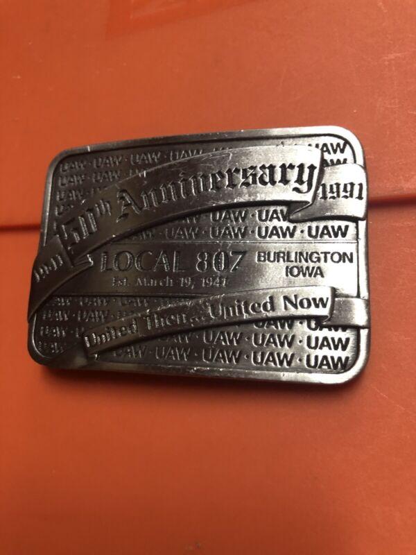 Limited Vtg 1941-1991 UAW 50th Anniversary Local 807 Belt Buckle Burlington, IA
