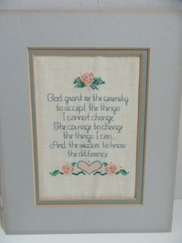 Finished Cross Stitch God Grant Me Serenity Prayer Completed Hearts 8x10 Rose