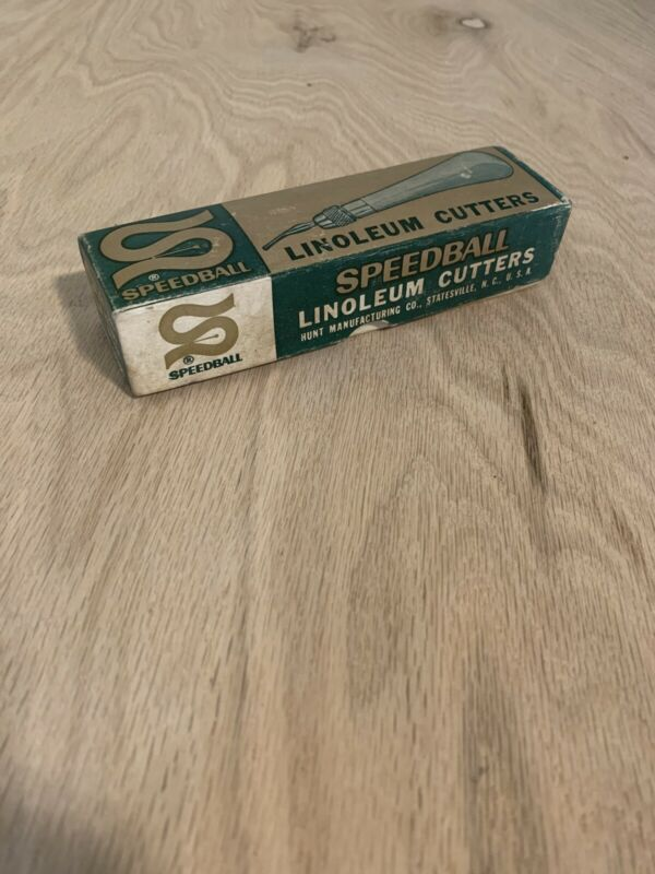 SPEEDBALL Vintage Linoleum Cutter Handle & Asst #1 blades in Original Box