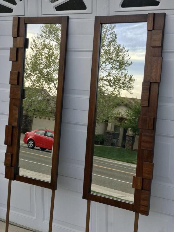 Mid century Lane Brutalist mirror pair