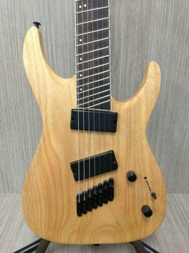 Haze  E007FFNoil Fanned Frets 7-String Electric Guitar - Natural Oil + Gig Bag