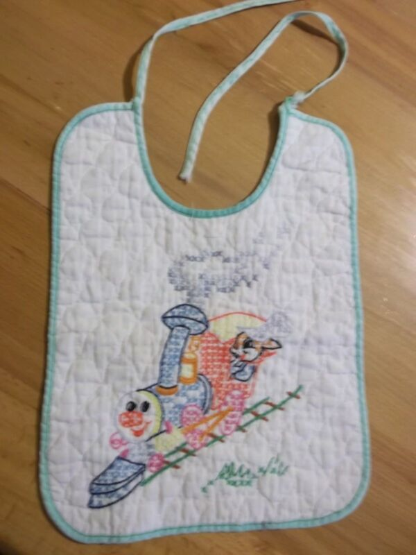 Vintage Embroidered Cotton Baby Child Bib Hand Stitched Train