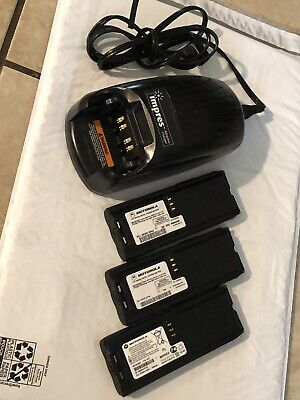 Motorola Wpln4114ar Impres Charger 3 Batteries And 2 Belt Clips See Pictures