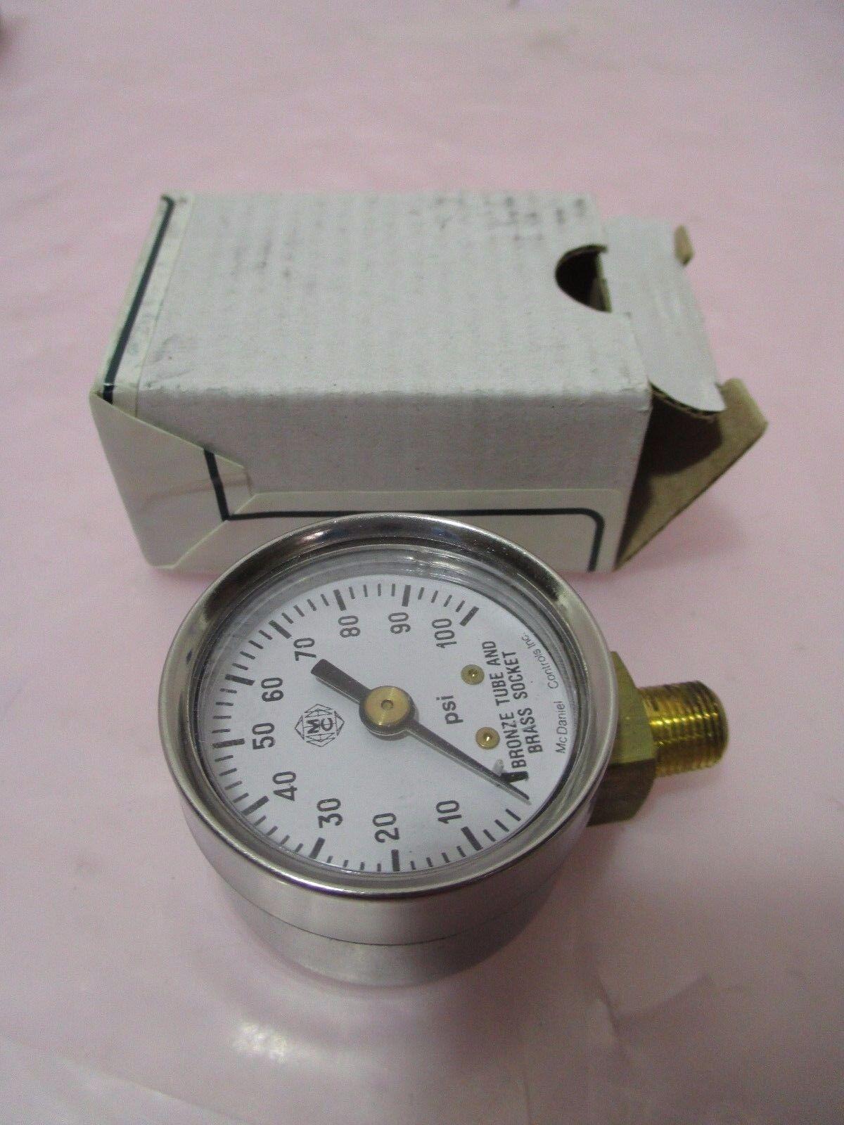 "AMAT 3310-01259 Gauge Press 1.5"" DIA 0-100PSI 1/8NPT BO, 421036"