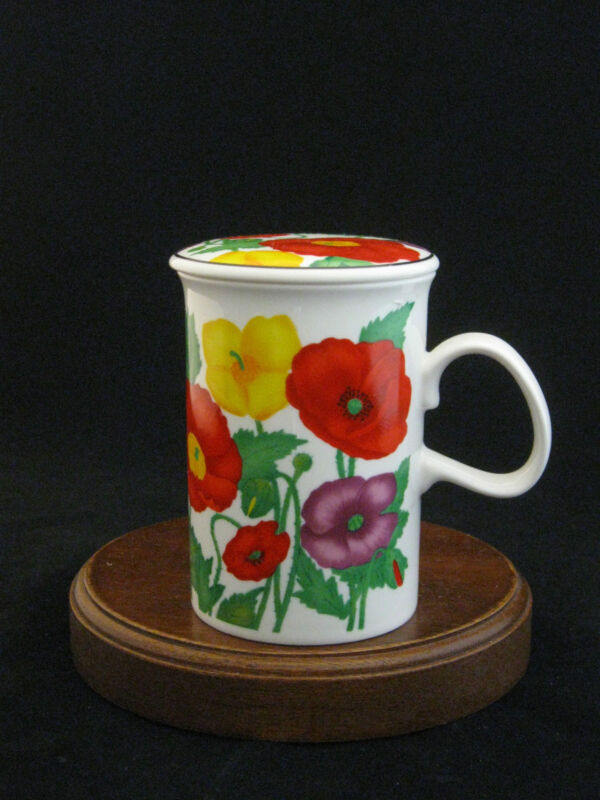 Poppies Flowers Fine Lidded Porcelain Mug by ABC Art Bank Corp