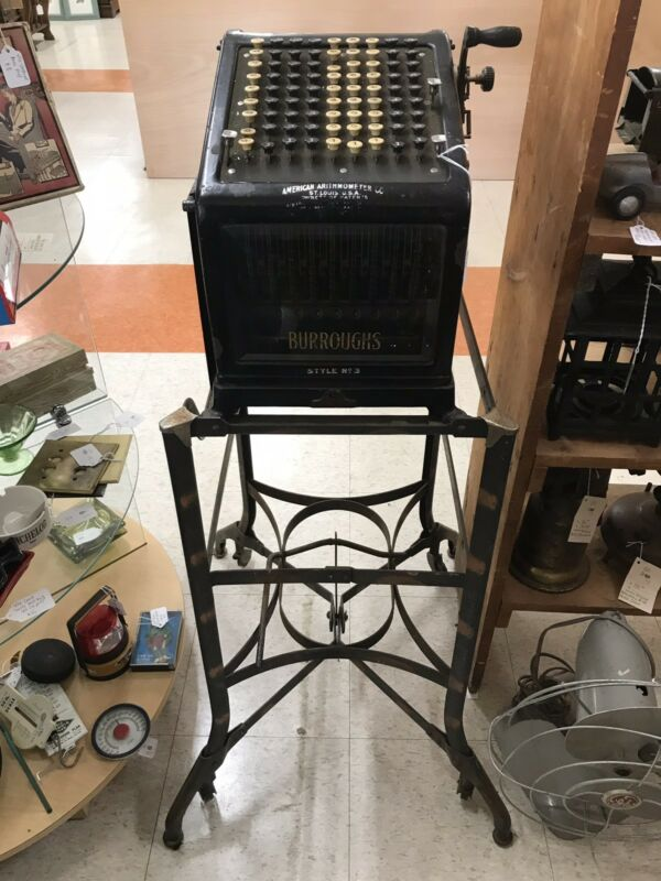 Antique - Burroughs Adding Machine -Beveled Glass Sides - Original Stand