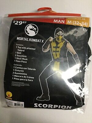 Mortal Kombat Scorpion Costume Cosplay Man Medium M 32-34 - Scorpion Cosplay Kostüm