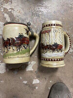 Anheuser Busch Budweiser 1980 & 1981 Christmas First 2 Holiday steins mugs nice