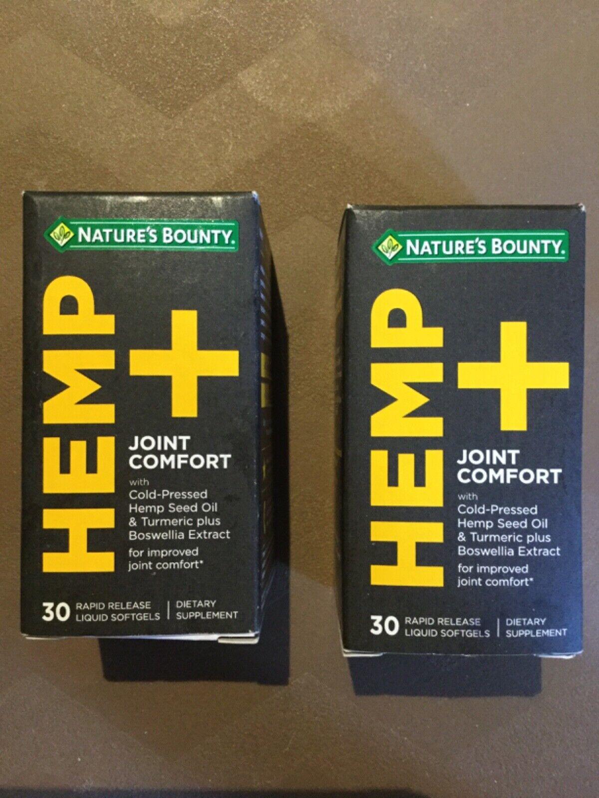 2 Nature's Bounty HEMP+ Joint Comfort FAST FREE SHIP!   Expires 12/2021