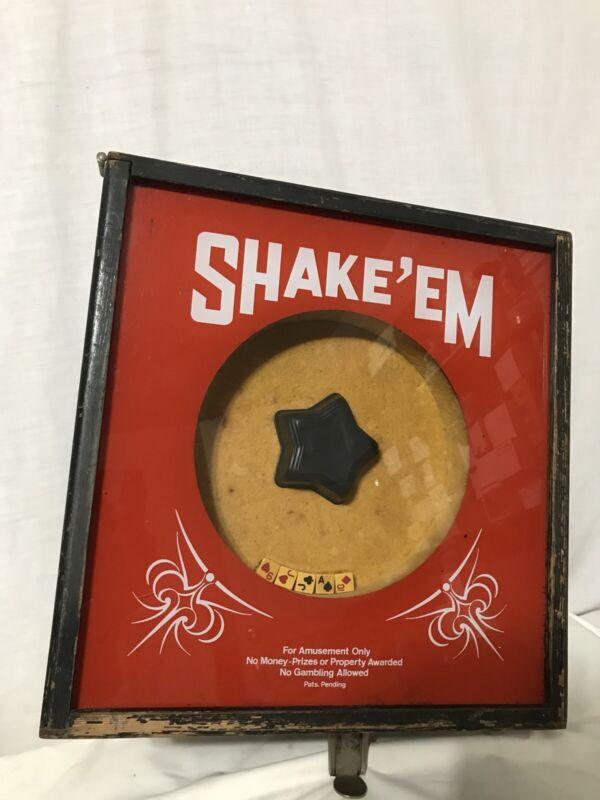 Vintage Shake Em Coin Operated 10 Cent Dice Trade Simulator Arcade Casino