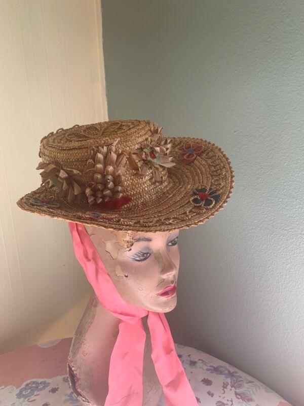 Vintage 1920s Straw Bonnet