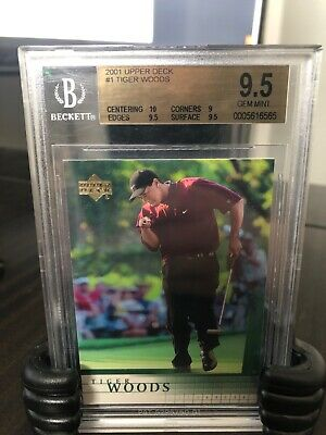 2001 Tiger Woods Upper Deck Rookie #1 RC GEM MINT BGS 9.5 with 10 sub