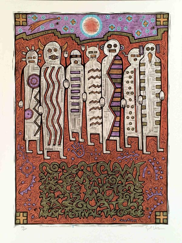 Robert Plant & Shape Shifters Poster Sasquatch Fest 2015 Signed Gary Houston COA