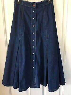 "Vintage Coca Cola Western Jean Midi Skirt Waist 26"" pearl snap size 9"