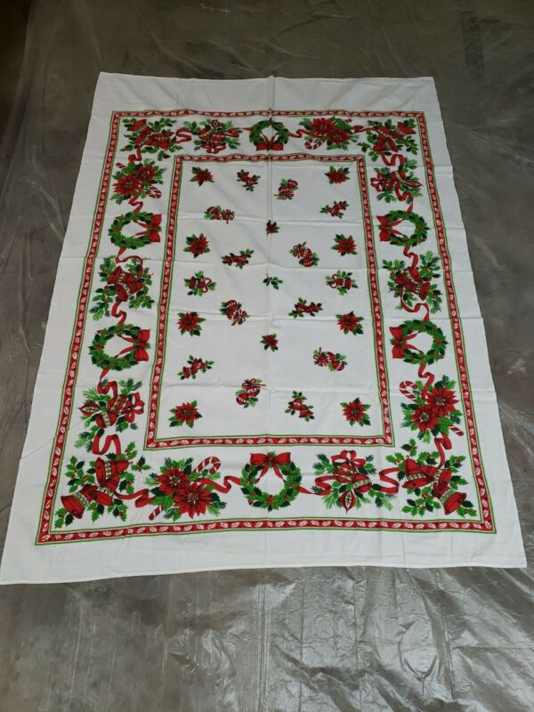 Vintage Christmas Fabric Tablecloth 60X42 Holly Bells Bows Wreath EXCELLENT COND