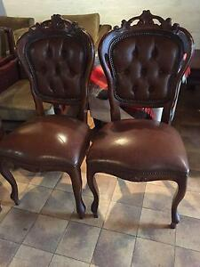 SET X 6 LEATHER SEAT - CARVED FRAME DINING CHAIRS- INCL 2 CARVERS Pymble Ku-ring-gai Area Preview