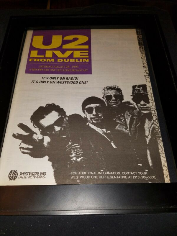 U2 Live From Dublin 1993 Rare Original Radio Concert Promo Poster Ad Framed!