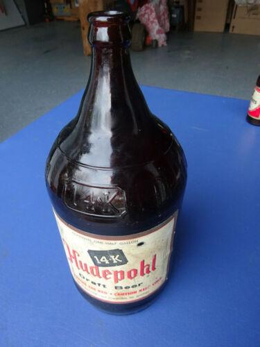 14 K, Hudepohl Draft Beer Bottle , 1/2 Gallon,