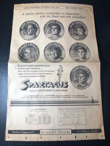 "1960 Spartacus movie Kirk Douglas Laurence Olivier full page ad 23.5x15"""