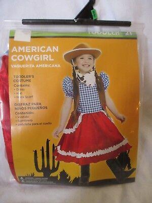 NEW Toddler Girl Halloween Costume American COWGIRL Dress Scarf Size - Toddler Cowgirl Halloween Costumes