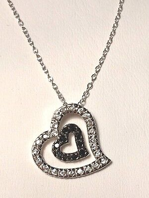 Diamond Floating Heart Necklace (Sterling Silver And Black And White Diamond Floating Heart)