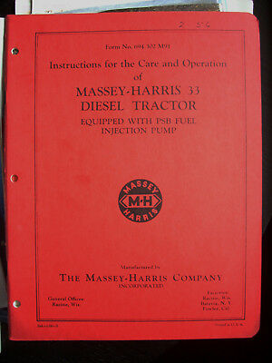 Massey Harris 33 Diesel Owners Manual