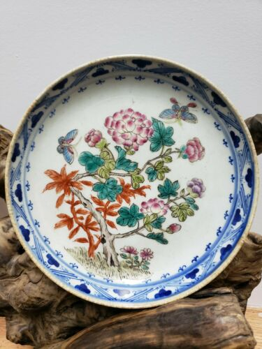 """Antique Chinese Famille Rose Porcelain Dish Plate  7 1/2"""""""