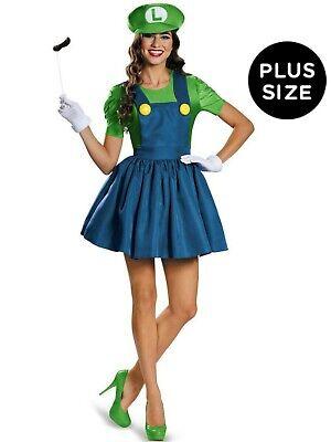 Super Mario Costume For Women (Super Mario Adult Luigi Costume With Skirt For Women Size XL ( 18 - 20)