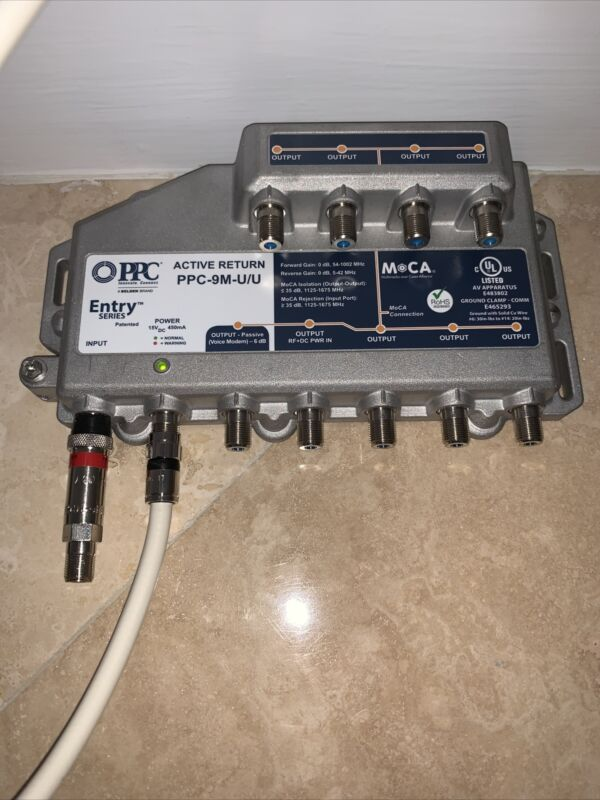 PPC PPC-9M-U/U 9-Port Active Return Coax Cable Signal Amplifier Booster