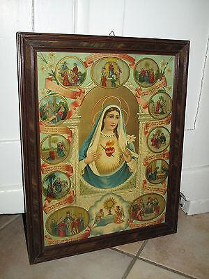 Antik Heiligenbild Schutzbild Maria, flammendes Herz Shabby Chic Bild