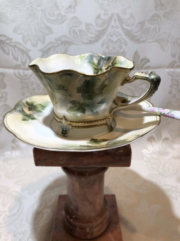 Antique R.S. Prussia Fluted, On Four Legs,Tea Cup & Saucer