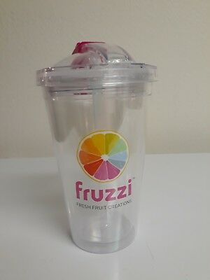 Hard Plastic Drinking Cup With Lid and Straw Double Walled Lot of 24 New