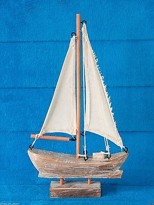 "Wooden Sail Boat Handcrafted Nautical Home Decor 11""H"