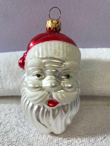 Christmas ornament Old World Christmas Glass Santa Head Silvery EX2014