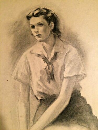 Mid-Century Charcoal portrait of Young Woman signed 17 X 20 inches